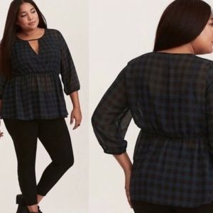 Torrid black and green checked sheer blouse